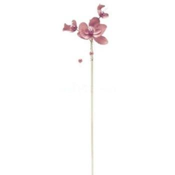 4 ORCHIDÉES & PERLES ROSE SUR PIQUE 25 cm