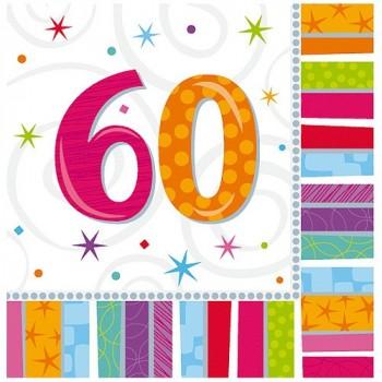 SERVIETTE 60ANS X 16EX