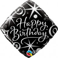 "BALLON ALU CARRE HAPPY BIRTHDAY NOIR ET GRIS 18"" 46cm"