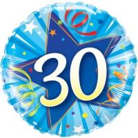 """BALLON ALU ROND BIRTHDAY 30 ETOILE BLEU 18"""" 46cm"""