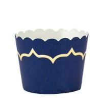 CAKE CUPS BLEU MARINE ET DORURE 85ML DIAM 6X4,5CM  X20